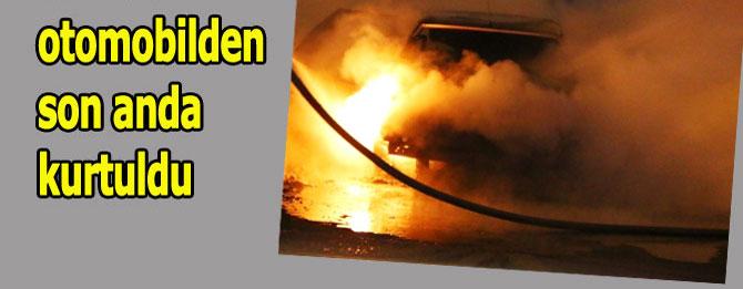 Otomobil cayır cayır yandı!